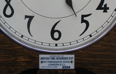 British Time Recorders Service Label